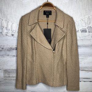 St. John Camel Melange moto zip shimmer blazer